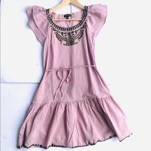 Warehouse Blush Dress W Ruffle and studded Detail